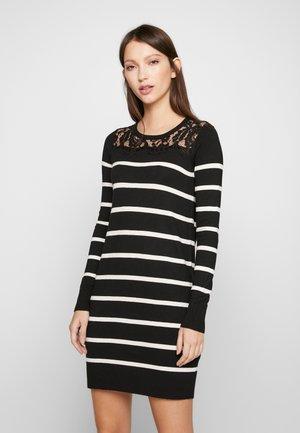 VMLACOLE LACE DRESS - Abito in maglia - black/snow white/black lace
