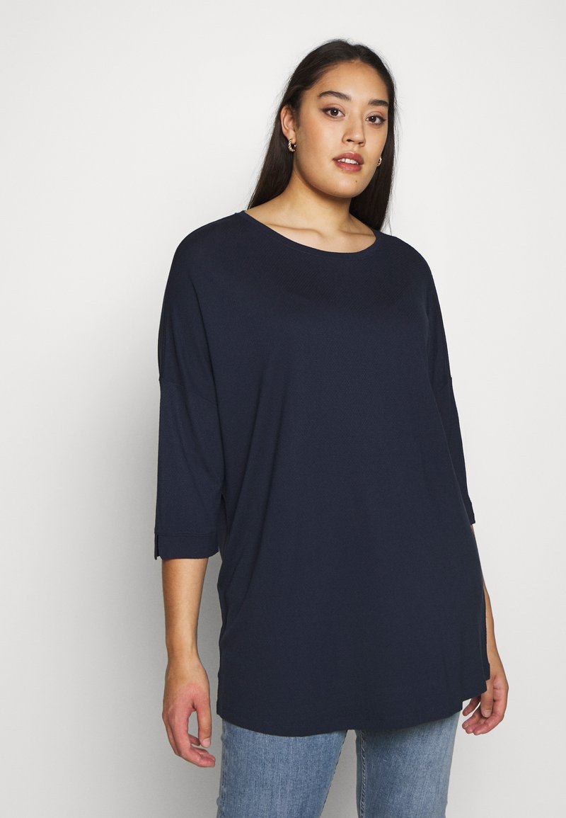 MY TRUE ME TOM TAILOR - BATWING WITH CUFF DETAIL - Topper langermet - real navy blue
