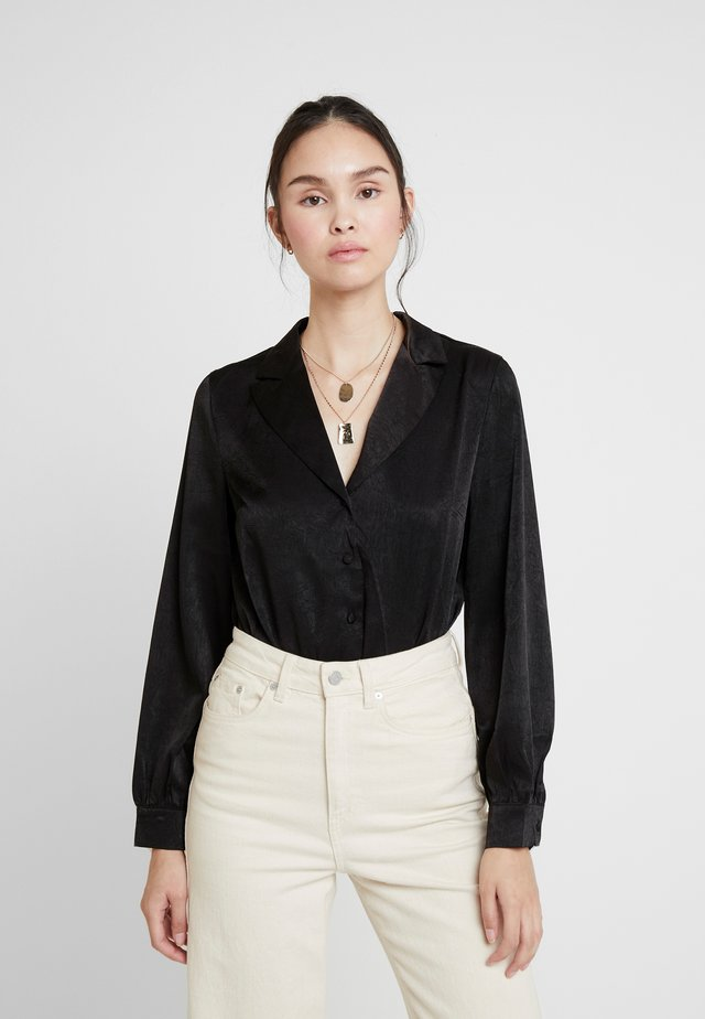 LUXE RUST TAILORED BODYSUIT - Button-down blouse - black