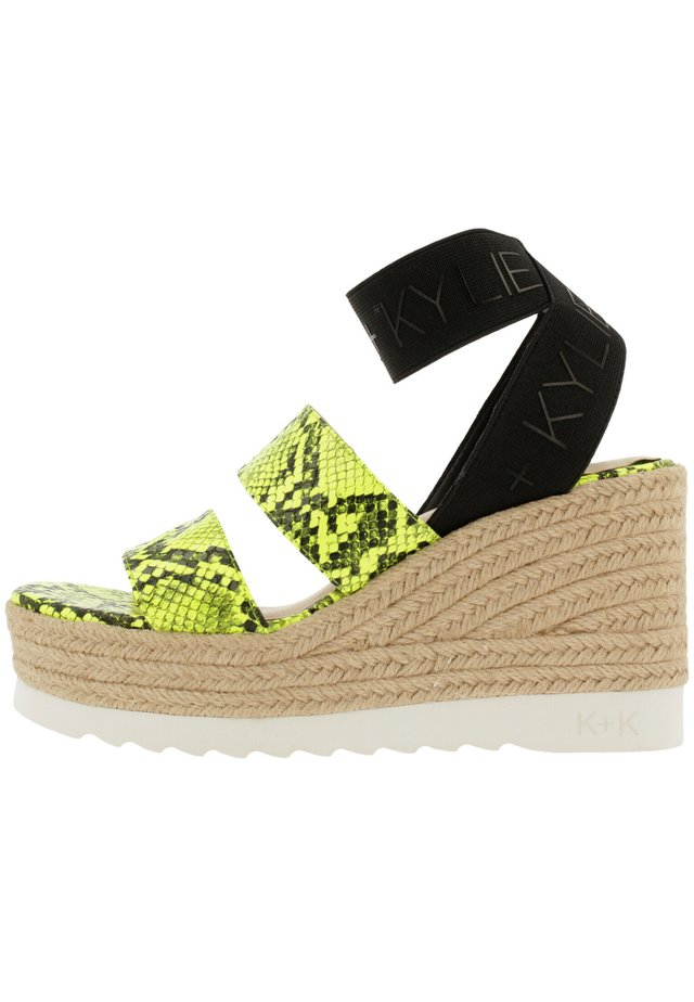 PRIM - Platform sandals - neon lime