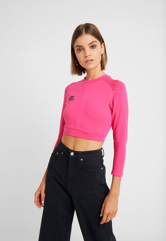 CARA CROPPED WOMEN - Long sleeved top - sorbet/black