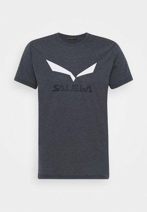SOLID LOGO DRY - T-shirt z nadrukiem - navy melange