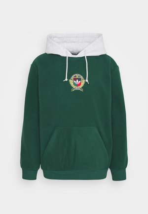 COLLEGIATE CREST POLAR FLEECE HOODIE - Hoodie - green/grey