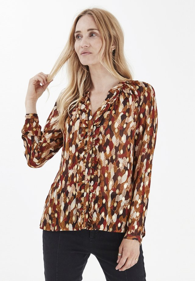 PZMANJA  - Button-down blouse - chocolate brown printed