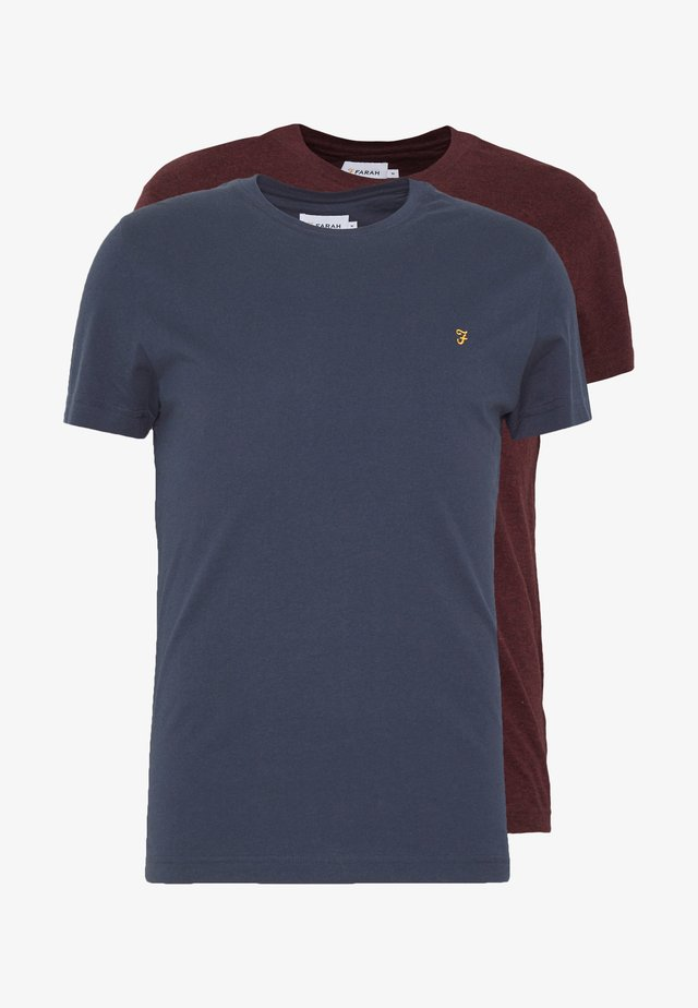 FARRIS TWIN 2 PACK - Camiseta básica - farah red marl/true navy