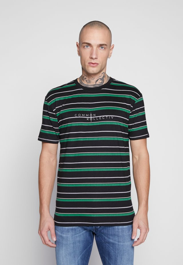 UNISEX STRIPED GOLF TEE - Print T-shirt - black