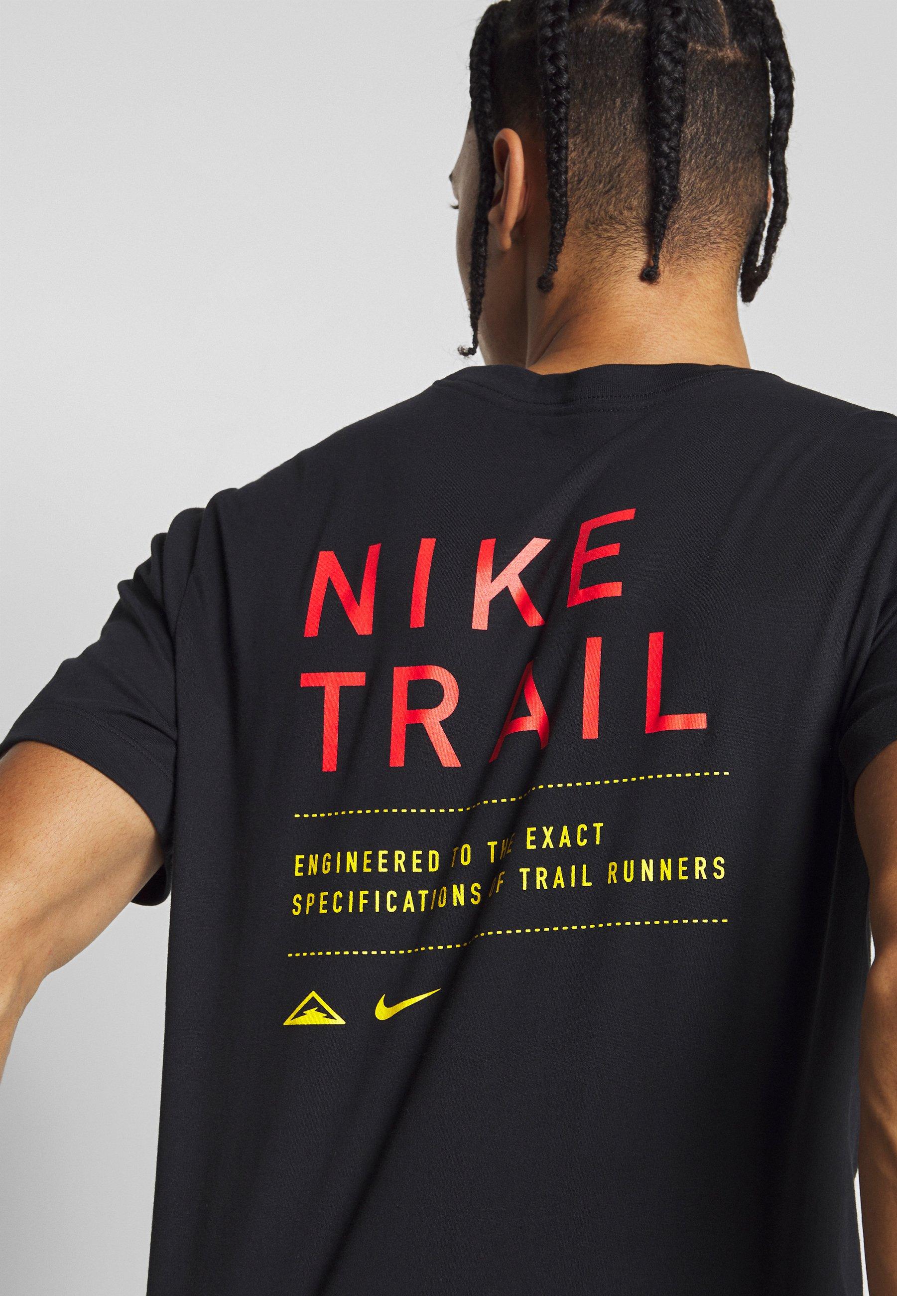 DRY TEE TRAIL - Camiseta estampada - black