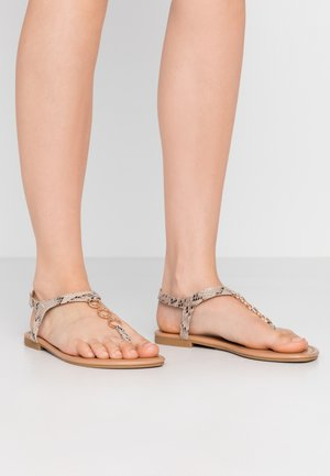 WIDE FIT HOXTON - T-bar sandals - stone