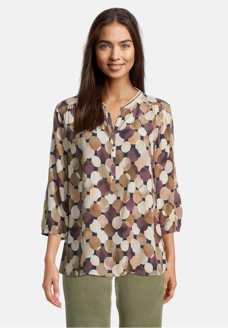 Betty & Co - MIT 3/4 ARM - Blouse - weiß/camel