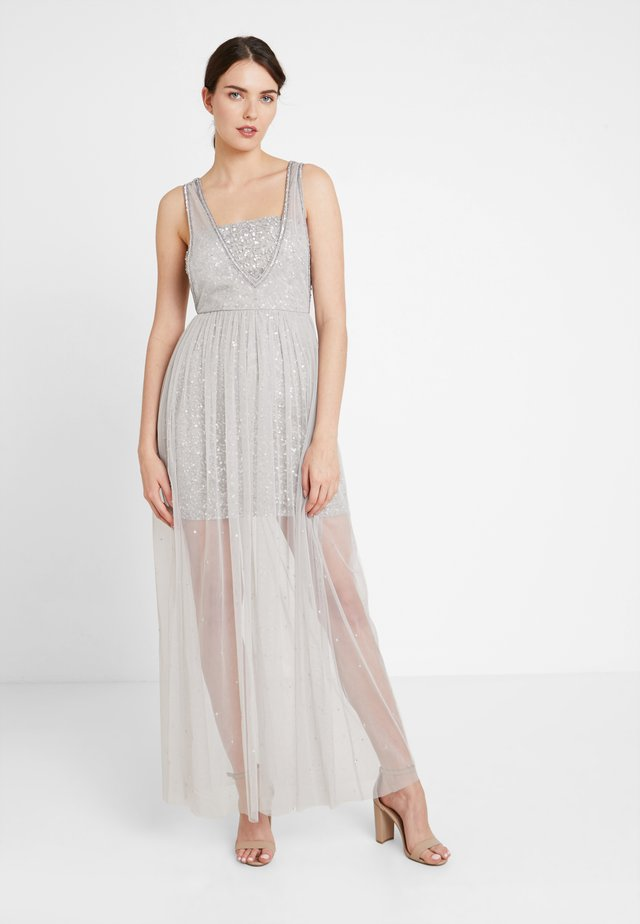 CAMI MAXI WITH SEQUIN LINING AND SHEER SKIRT - Abito da sera - soft grey