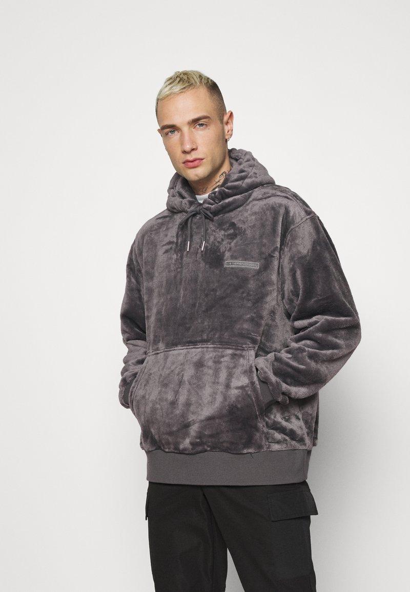 Topman - GREY LOGO TEDDY HOOD - Sweatshirt - grey