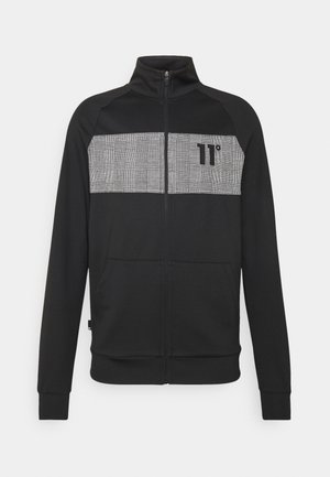 CUT AND SEW PRINCE OF WALES POLY TRACK  - Cardigan - black/white