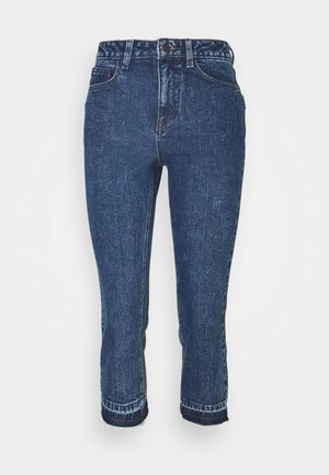 OBJCONNIE CROPPED - Slim fit jeans - dark blue denim