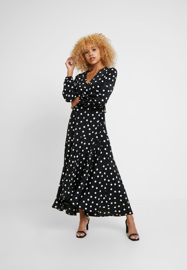 SPOT WRAP MIDI DRESS - Maxi dress - black