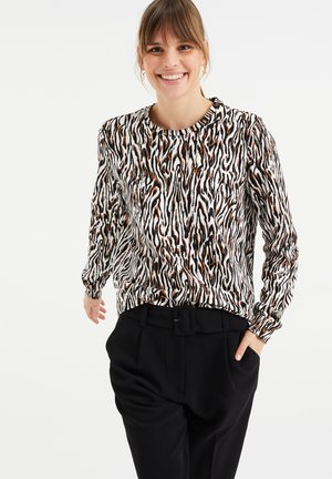 Sweatshirt - brown/white