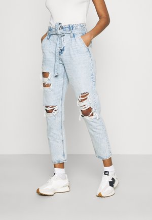 PAPERBAG MOM - Slim fit jeans - broken glass blue