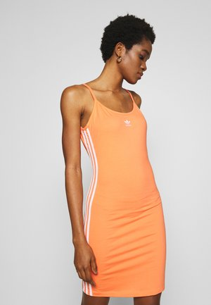 TANK DRESS - Shift dress - semi coral/white
