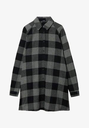 Shirt dress - schwarz -black/charcoal grey maxi tartan