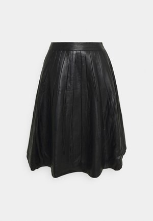 JOSE PLISSE LEATHER SKIRT  - Leather skirt - black