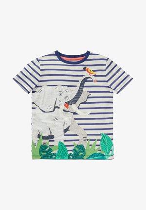 MIT TIERAPPLIKATION - Print T-shirt - navy/naturweiß, elefant
