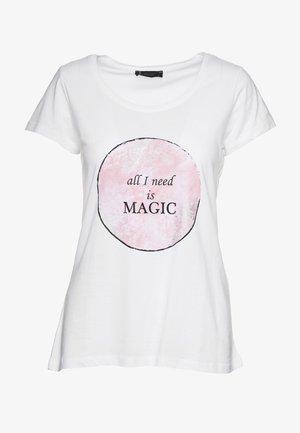 Print T-shirt - weiß-rosa