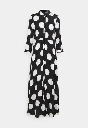 YASSAVANNA DOT LONG SHIRT DRESS - Maxi dress - black/black with white dots