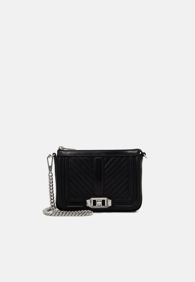 CHEVRON QUILTED MINI LOVE SHOULDER - Sac bandoulière - black