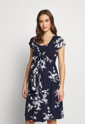 FLORAL MATERNITY NURSING TIE DRESS - Jersey dress - navy