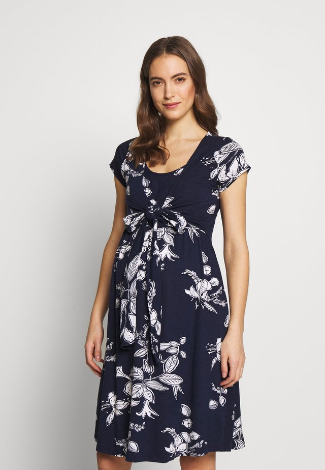 FLORAL MATERNITY NURSING TIE DRESS - Jerseyjurk - navy