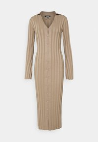 Missguided - V NECK COLLARED MIDAXI DRESS - Vestido de punto - stone - 0