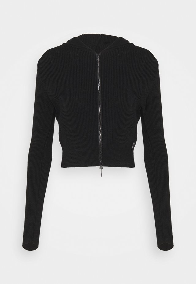 CROPPED ZIP HOODIE - Bluza rozpinana - black