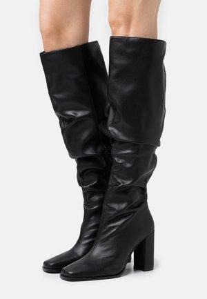 SLOUCHY SHAFT SQUARED TOE BOOTS - Kozačky na vysokém podpatku - black