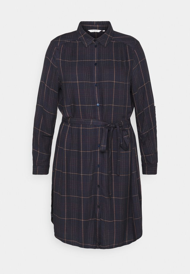 BELTED CHECKED DRESS - Shirt dress - navy gipsy/camel