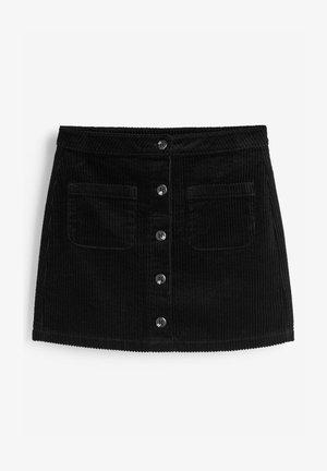 BUTTON THROUGH CORD - A-lijn rok - black