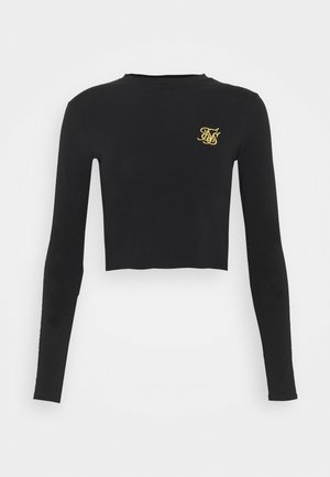 TAPE LONG SLEEVE CROP TEE - Long sleeved top - black
