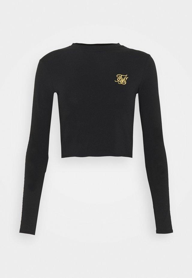 TAPE LONG SLEEVE CROP TEE - Long sleeved top - black
