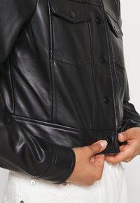 ONLY - ONLVIBE TRUCKER JACKET - Faux leather jacket - black - 5