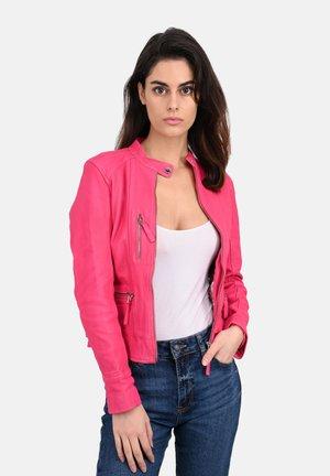 EACH - Leather jacket - fuchsia
