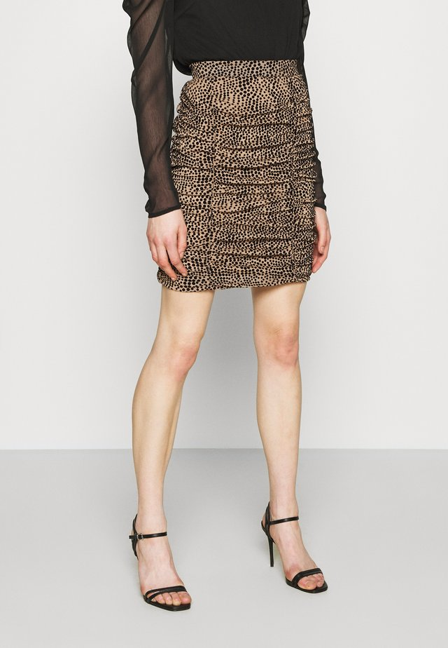 VITIFTA SKIRT - Mini skirt - tigers eye/black