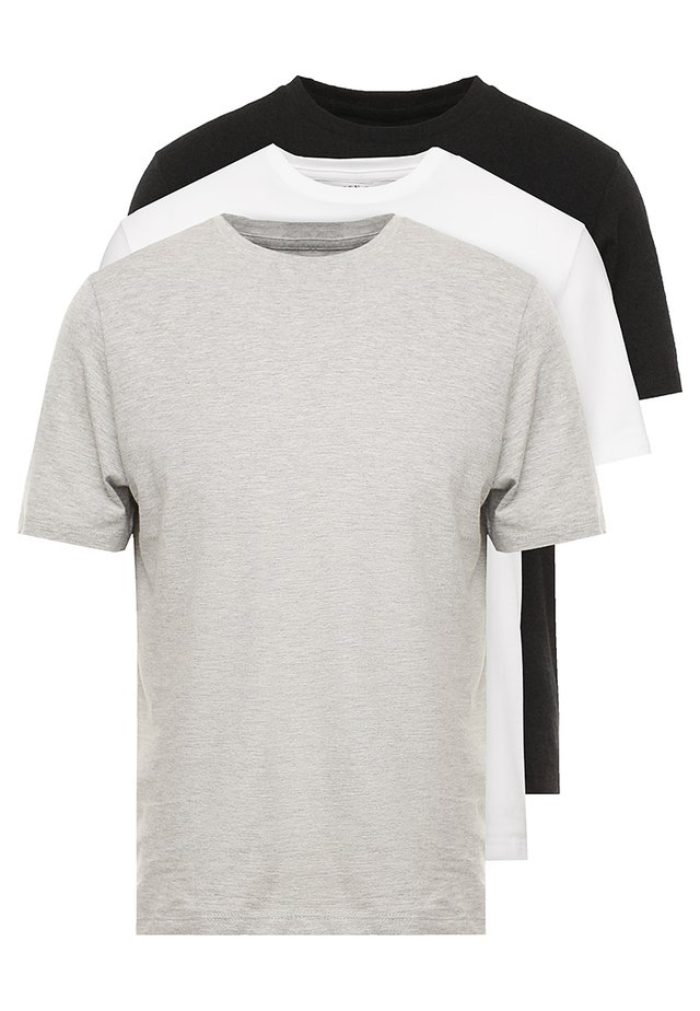 BASIC CREW 3 PACK MULTIPACK - Jednoduché triko - black/grey/white