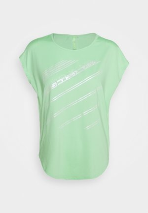ONPMANON CURVED TRAINING TEE TALL - Print T-shirt - green ash/saftey yelow/white