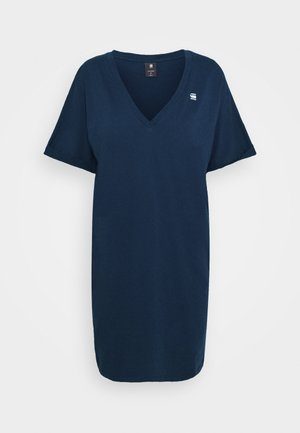 LOOSE DRESS V WMN S\S - Žerzejové šaty - sartho blue