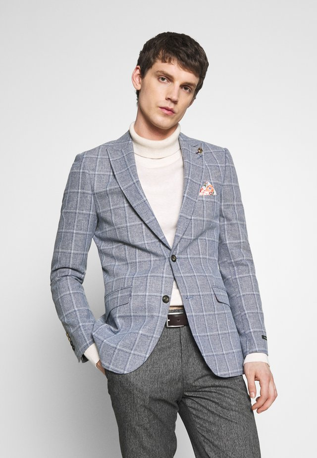 BLEND OVER CHECK SUIT JACKET SLIM - Suit jacket - mid blue