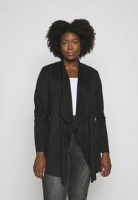 CAPSULE by Simply Be - LONGLINE WATERFALL JACKET WITH PANEL SLEEVE - Short coat - black - 3