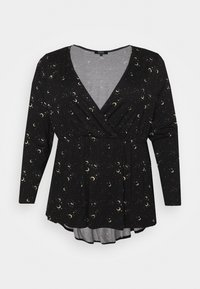 Simply Be - LONG SLEEVE WRAP FRONT - Long sleeved top - black - 0