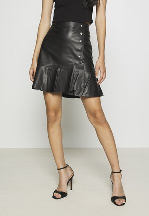 VMBUTTERLIV SHORT COATED SKIRT - Mini skirt - black