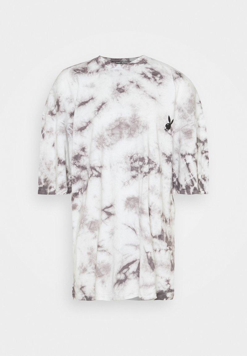 Missguided - PLAYBOY TIE DYE OVERSIZED DRESS - Vestido ligero - charcoal