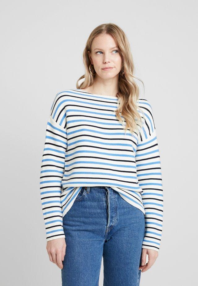Sweter - blau/ecru/weiss