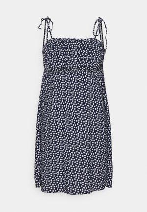 RUCHED TIE STRAP DRESS  - Denní šaty - navy