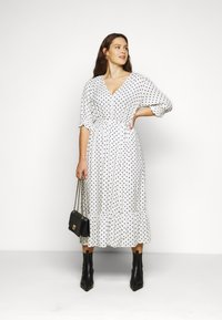 City Chic - DRESS SPOTTY TIER - Shirt dress - white - 1